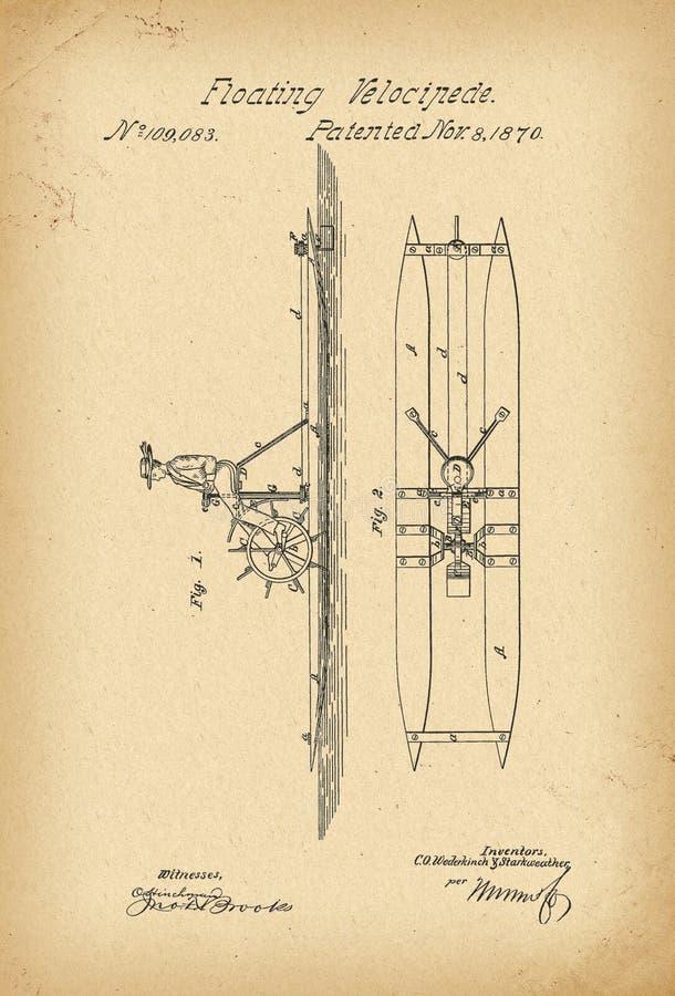 Invención flotante de la historia del Unicycle del agua de la bicicleta del velocípedo de 1870 patentes stock de ilustración