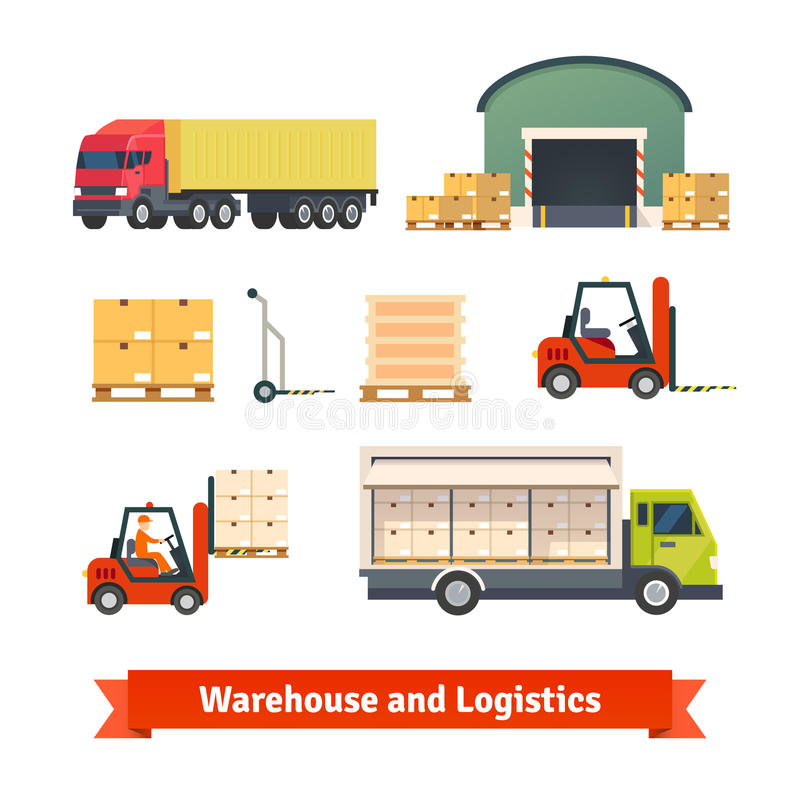 Inventário do armazém, caminhão da logística ilustração royalty free