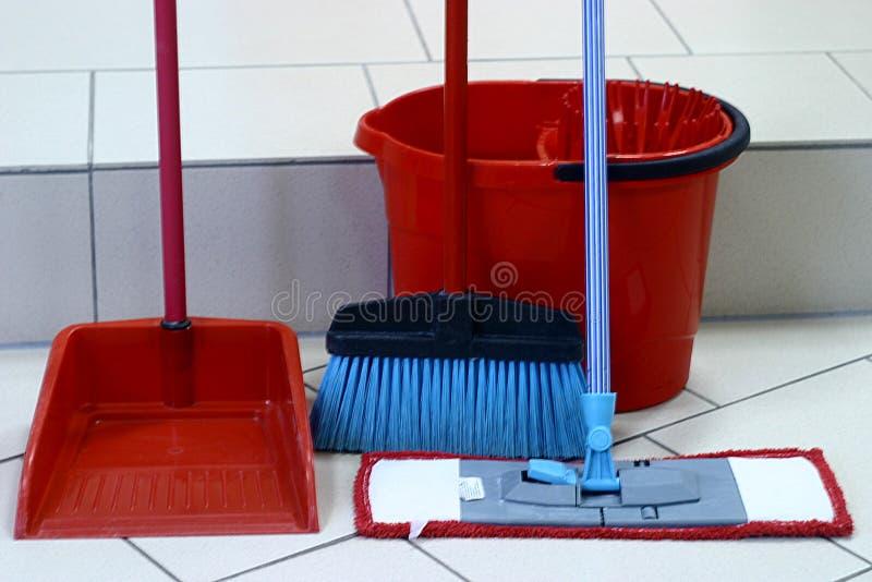 Inventaris voor het schoonmaken stock foto