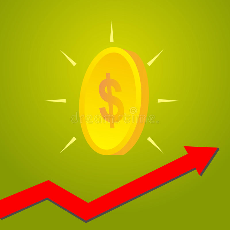 Invente com seta do gráfico acima, crescimento do conce financeiro e econômico ilustração do vetor