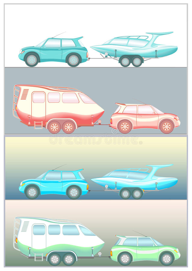 Invented car trailer boat vector illustration