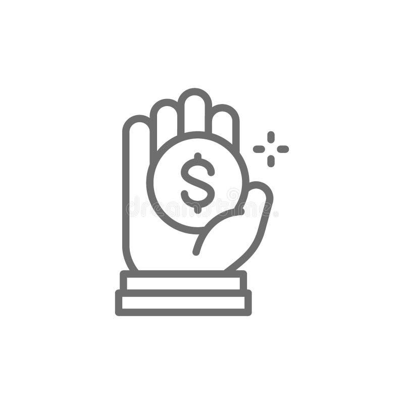 Inventez ? disposition, donation d'argent, charit?, offrant la ligne ic?ne illustration stock