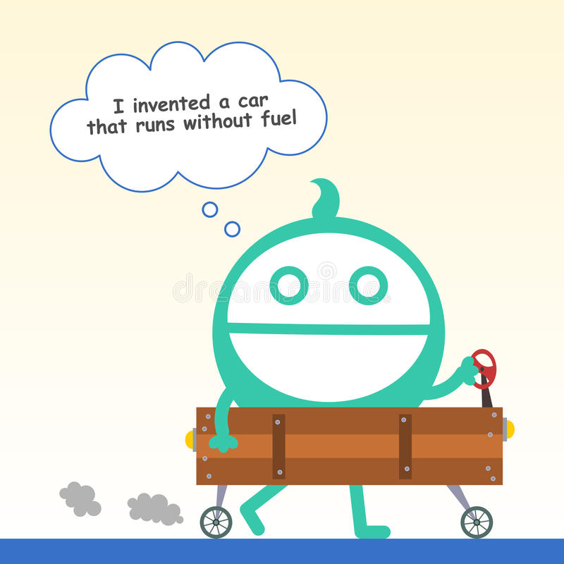 An inventor. A cartoon inventor proudly made a wooden car royalty free illustration