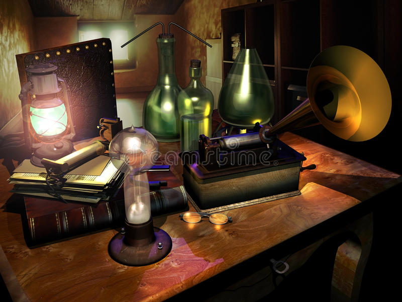 Inventor desk. Table with old inventions, a bulb and a gramophone, like if it was Thomas Edison's desk vector illustration