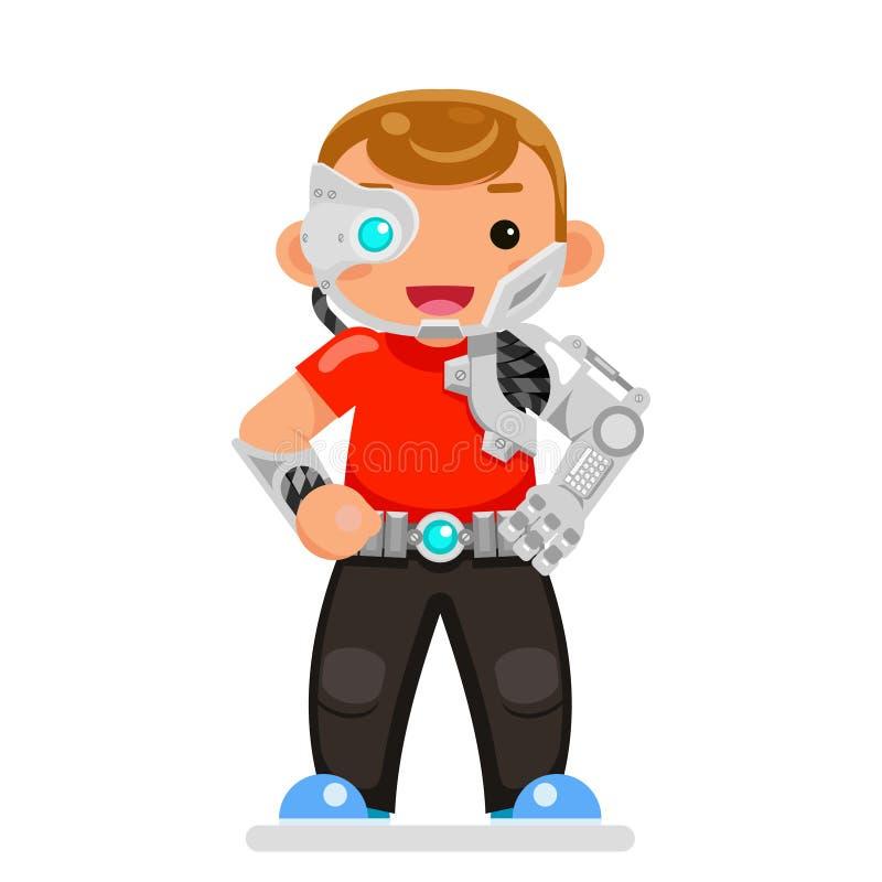Inventor engineer cyborg kids science scifi superhero teen character flat design vector illustration. Inventor engineer cyborg kids scifi science superhero teen vector illustration