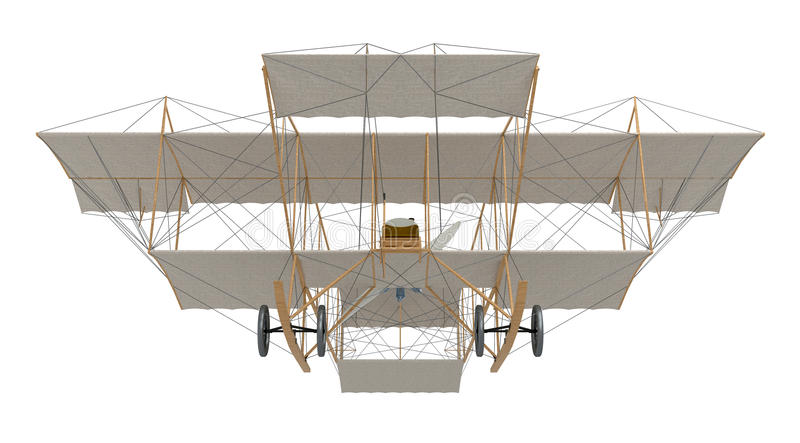 Inventor first airplane. Isolated on white. 3d rendering vector illustration