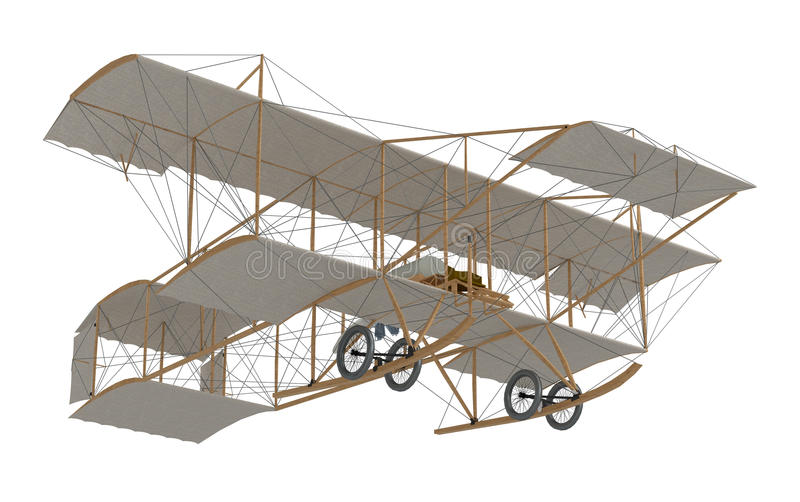 Inventor first airplane. Isolated on white. 3d rendering royalty free illustration