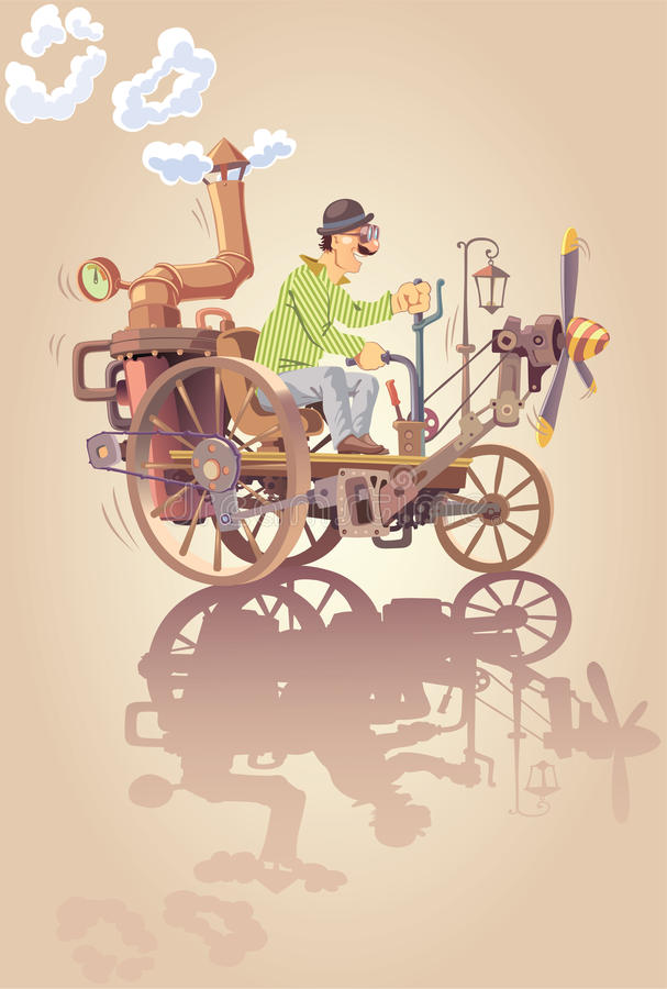 Inventor and his steam car. The happy inventor is riding his own oldschool steam car with a propeller royalty free illustration