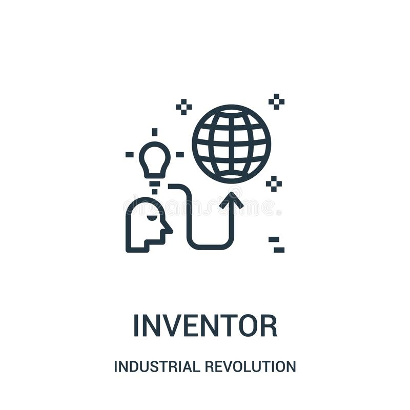 Inventor icon vector from industrial revolution collection. Thin line inventor outline icon vector illustration. Linear symbol for use on web and mobile apps vector illustration