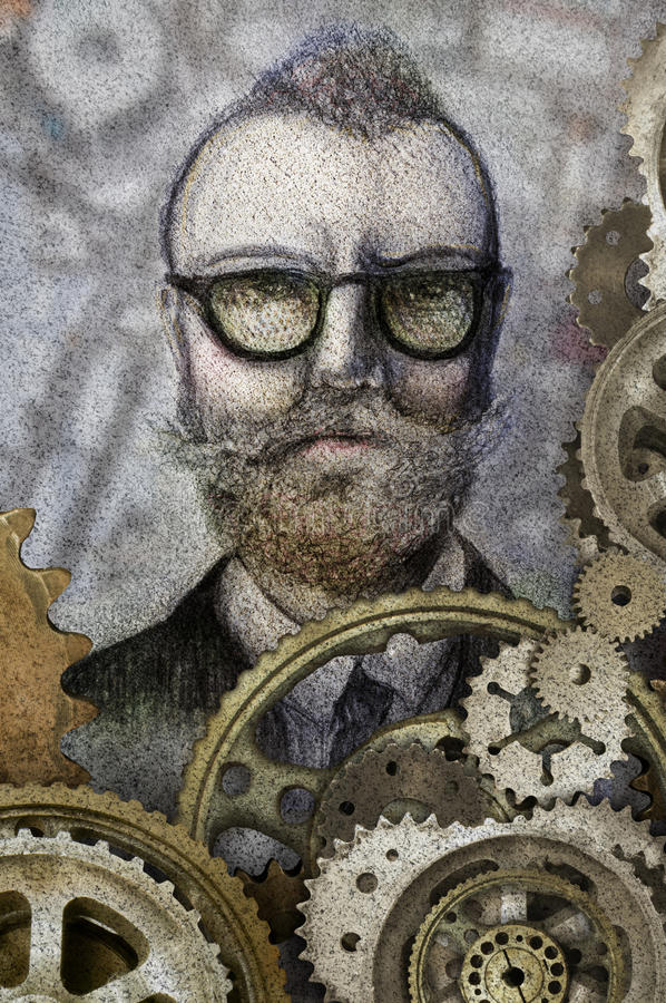 Inventor man. A sketch of a man with assorted gears in the foreground. Concept for inventor stock illustration