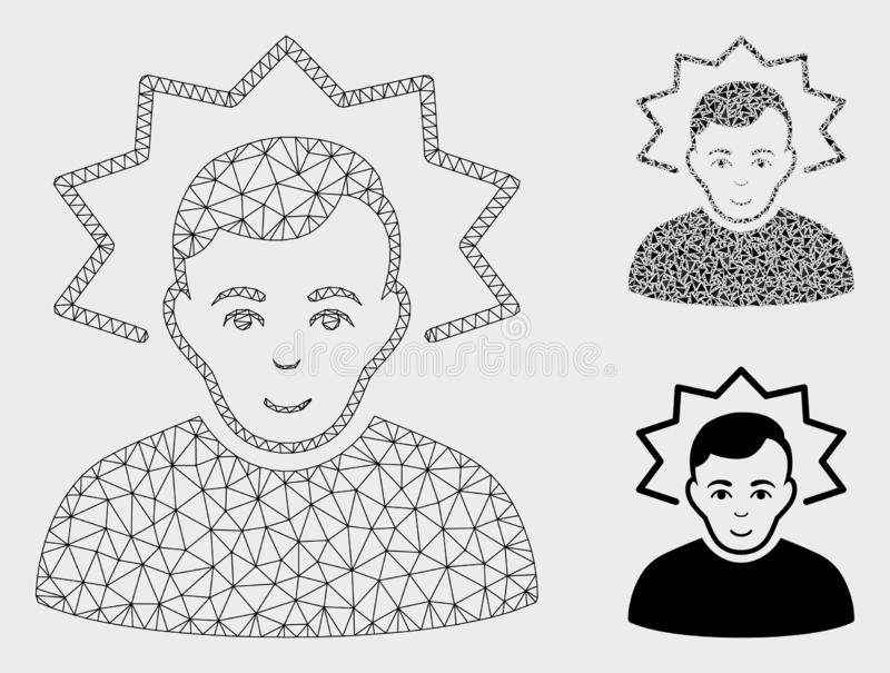 Inventor Vector Mesh Network Model and Triangle Mosaic Icon. Mesh inventor model with triangle mosaic icon. Wire carcass polygonal mesh of inventor. Vector vector illustration