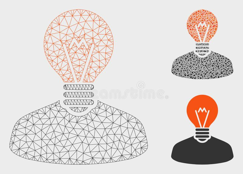 Inventor Vector Mesh Wire Frame Model and Triangle Mosaic Icon. Mesh inventor model with triangle mosaic icon. Wire frame polygonal network of inventor. Vector stock illustration