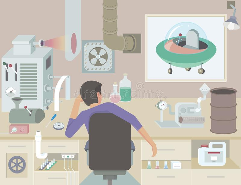 The inventor at work. A scientist thinks of inventing new things royalty free illustration