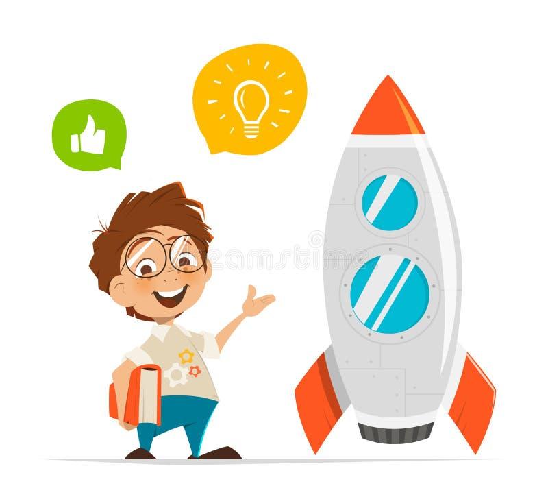 Inventor y cohete elegantes del niño ilustración del vector