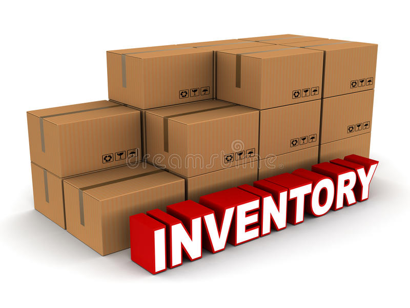 Inventory. Stock and inventory concept, box cartons of cardboard, on white background with red and white text