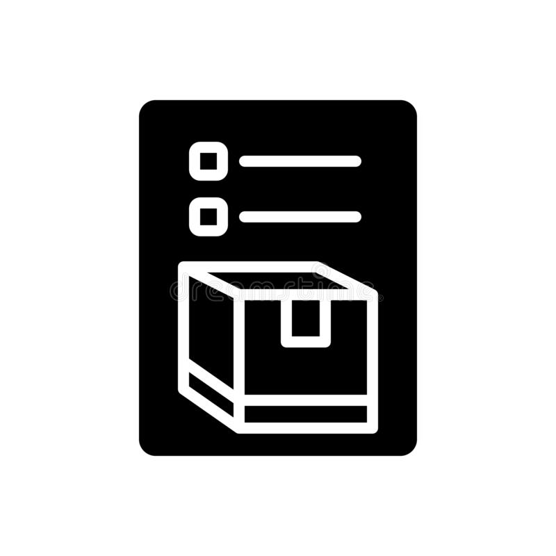 Black solid icon for Inventory, merchandise and storage. Black solid icon for Inventory, cargo, goods, packing, list,  merchandise and storage stock illustration
