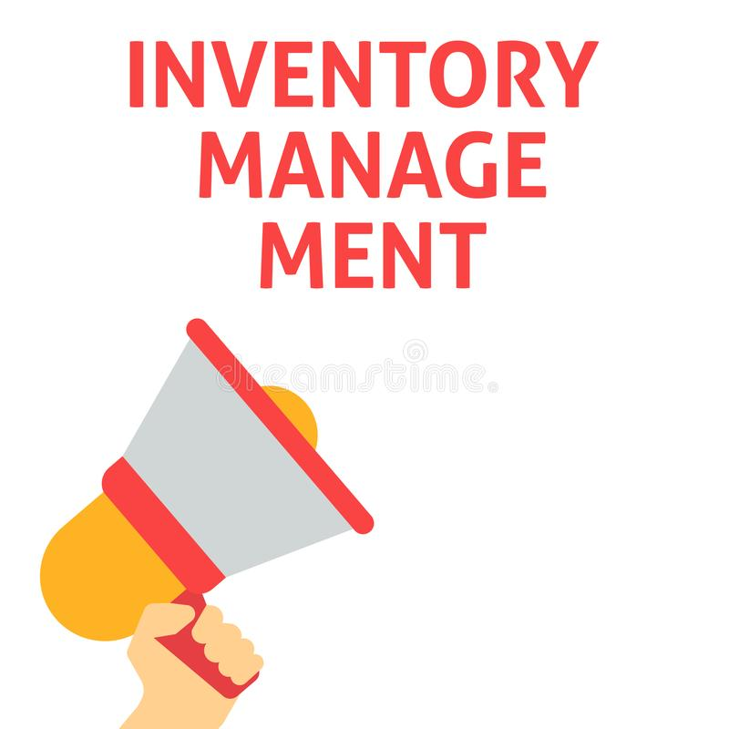INVENTORY MANAGEMENT Announcement. Hand Holding Megaphone With Speech Bubble. Flat Vector Illustration vector illustration