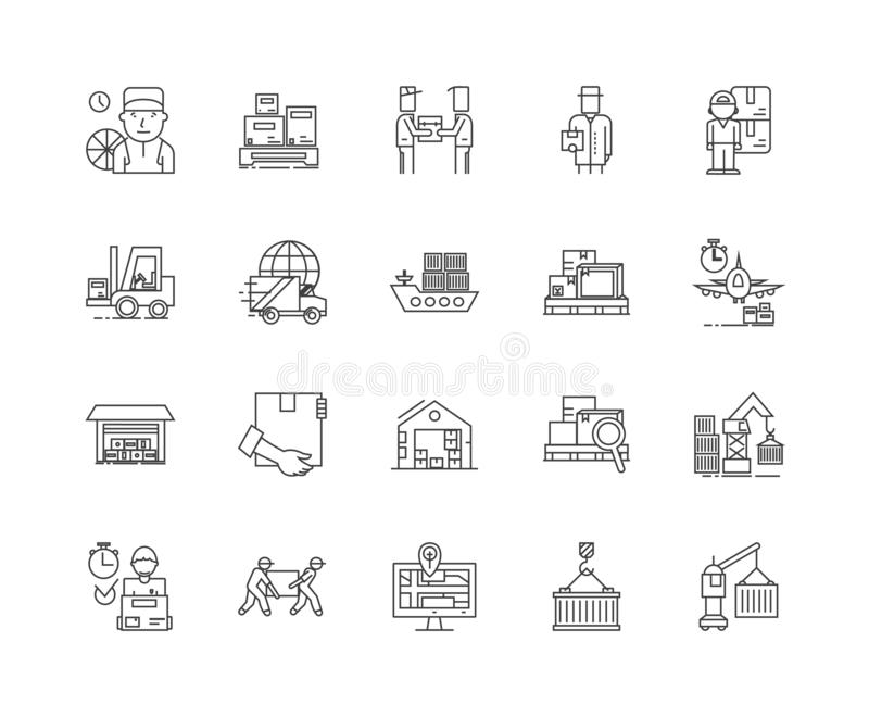 Inventory management line icons, signs, vector set, outline illustration concept. Inventory management line icons, linear signs, vector set, outline concept vector illustration