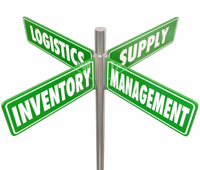 Inventory Management Logistics Supply Control 4 Way Road Signs. Inventory, Management, Logistics and Supply words on 4 green road or street signs pointing way to royalty free illustration