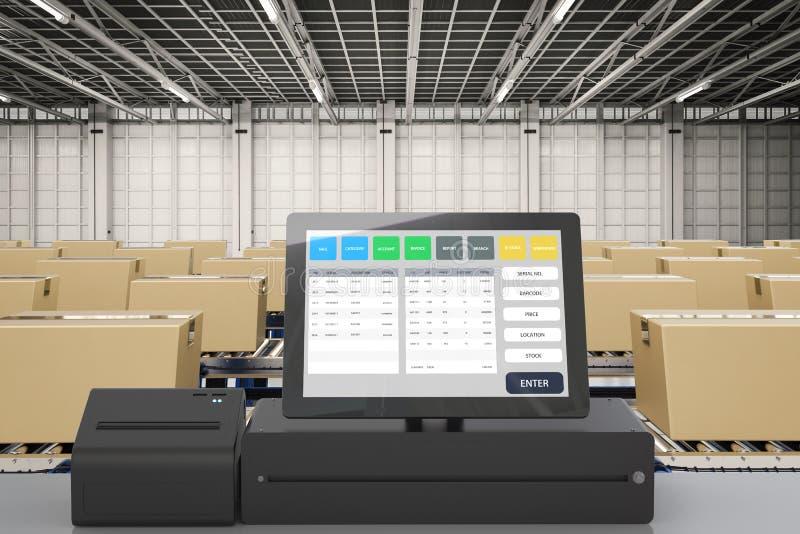 Inventory management system for factory. 3d rendering inventory management system for factory stock illustration