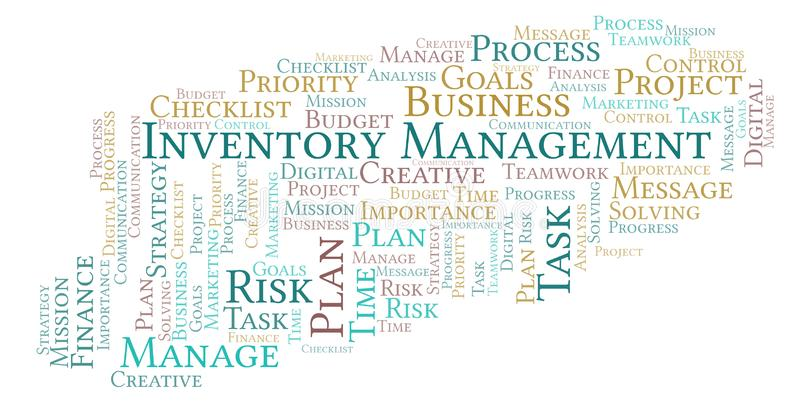 Inventory Management word cloud, made with text only. Inventory Management word cloud, made with text only royalty free illustration