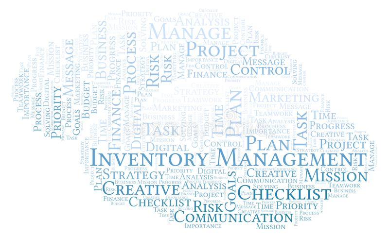 Inventory Management word cloud, made with text only. Inventory Management word cloud, made with text only stock illustration