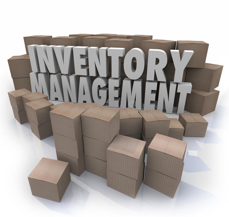 Inventory Management Words Logistic Supply Chain Control Boxes P. Inventory management words in 3d letters surrounded by cardboard boxes full of products in a royalty free illustration