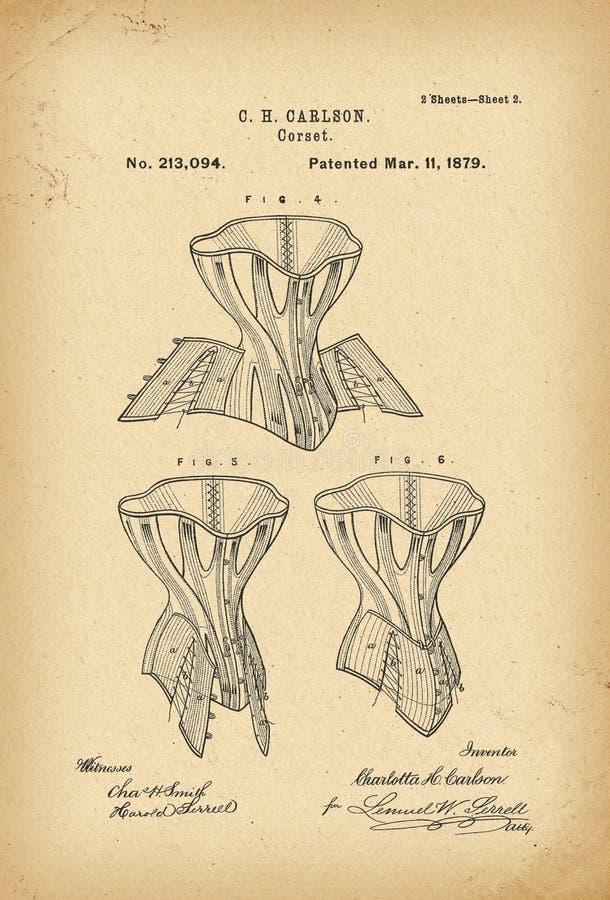 Invenzione di modo di storia del corsetto di 1879 brevetti immagine stock libera da diritti