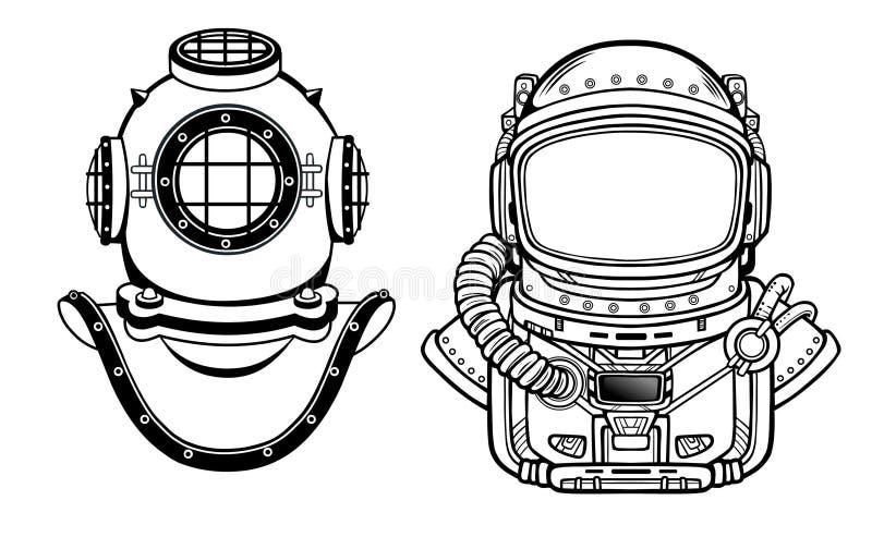 Invenzioni umane: casco antico di immersione subacquea, vestito del ` s dell'astronauta Passato e futuro Scienza di profondità illustrazione di stock