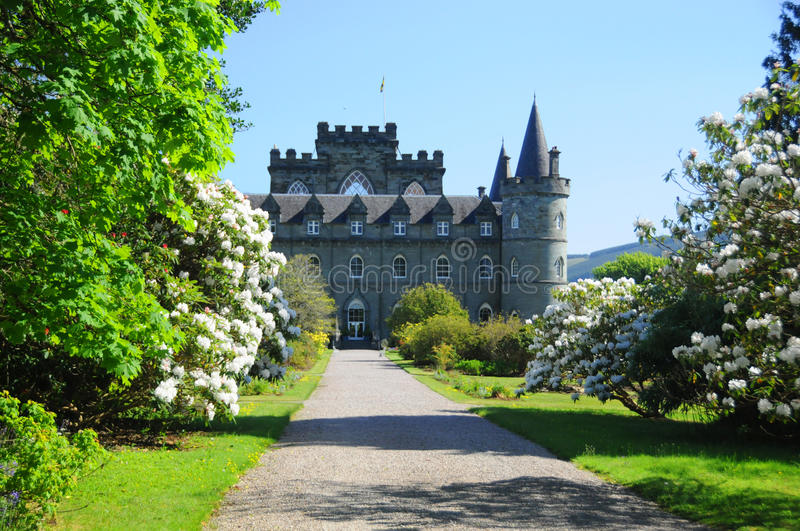 INVERARAY CASTLE. SCOTLAND MAY 22: An estate house near Inveraray in the county of Argyll on the shore of Loch Fyne,It has been the seat of the Duke of Argyll royalty free stock photos