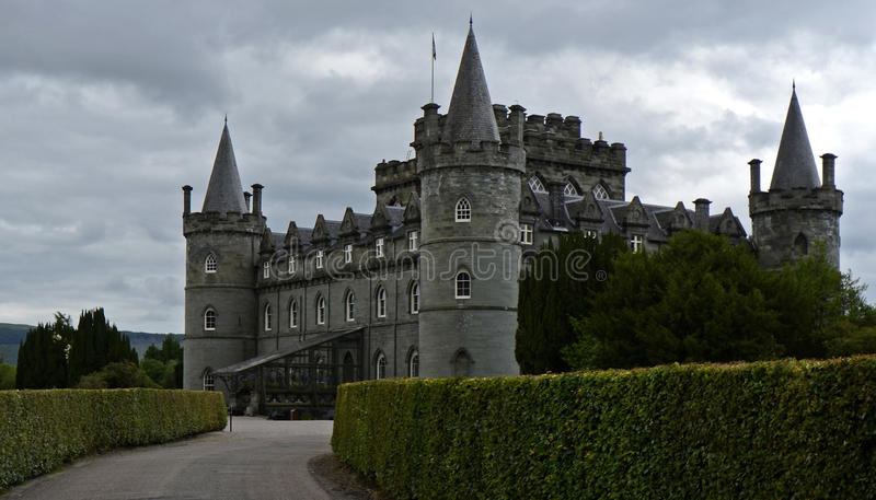 Inveraray Castle, Scotland, United Kingdom. The ancient Royal Burgh of Inveraray is located 60 miles north west of Glasgow by Loch Fyne in an area of spectacular stock images