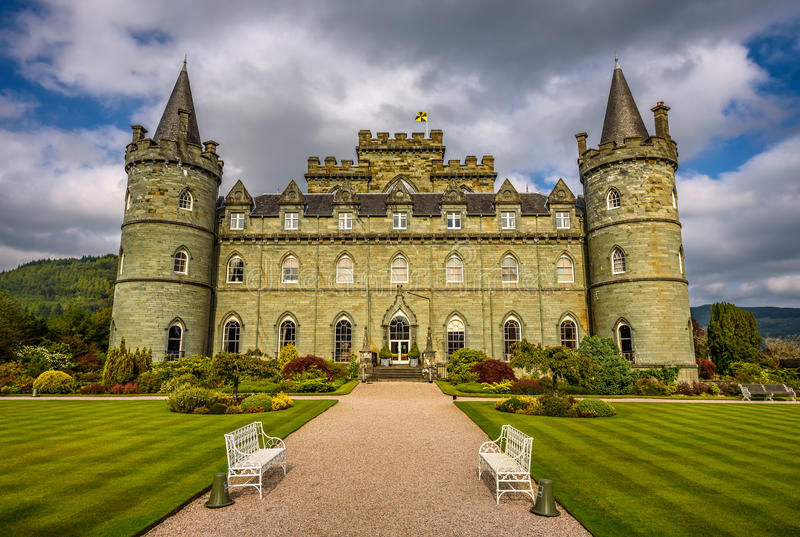 Inveraray Castle in western Scotland, United Kingdom. INVERARAY, SCOTLAND, UNITED KINGDOM - SEPTEMBER 8, 2015 : Inveraray Castle in western Scotland, on the stock image
