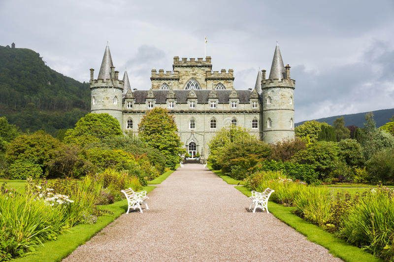 Inveraraykasteel, Inveraray, Argyle, Schotland 28 Augustus 2015 royalty-vrije stock afbeelding