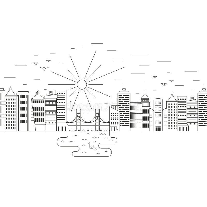 Inverdica la città illustrazione vettoriale