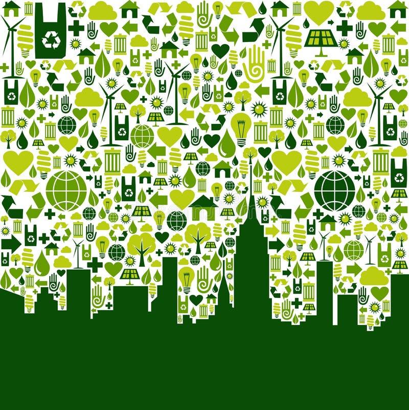 Inverdica la priorità bassa delle icone di eco della città illustrazione vettoriale