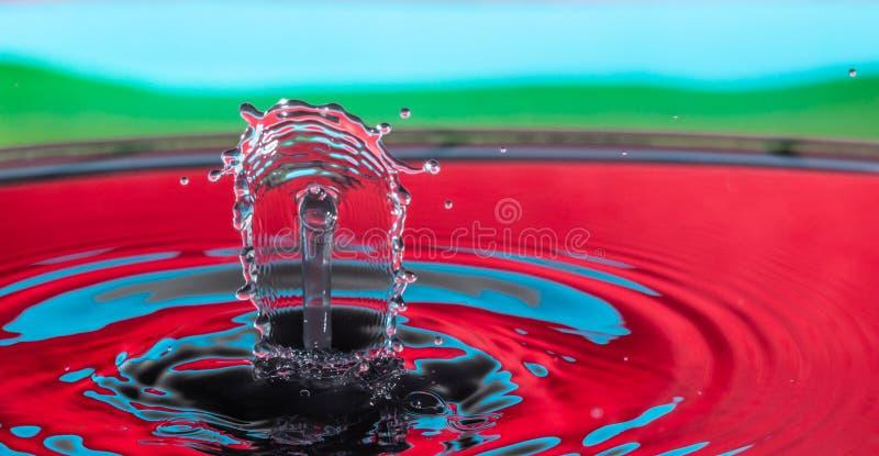 Inverkan f?r vattendroppf?rgst?nk royaltyfria foton