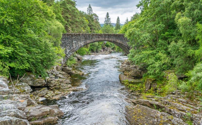 Invermoriston在尼斯湖的堡垒奥古斯都附近下跌,苏格兰高地 图库摄影