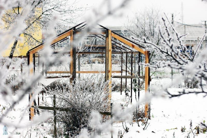 Invernadero en la nieve Árboles en la nieve Primera nieve Invierno frío diciembre blanco Jardín imagen de archivo