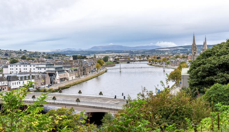 A view to city centre from Inverness Castle grounds, northern Scotland royalty free stock photography