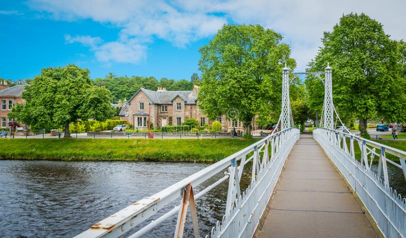 Infirmary Bridge in Inverness on a summer morning, Scottish Highlands. Inverness is a city on Scotland's northeast coast, where the River Ness meets the stock photo