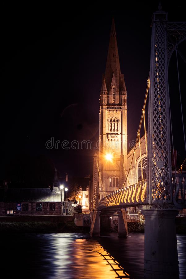 Inverness by night - the capital of Highlands of Scotland royalty free stock image