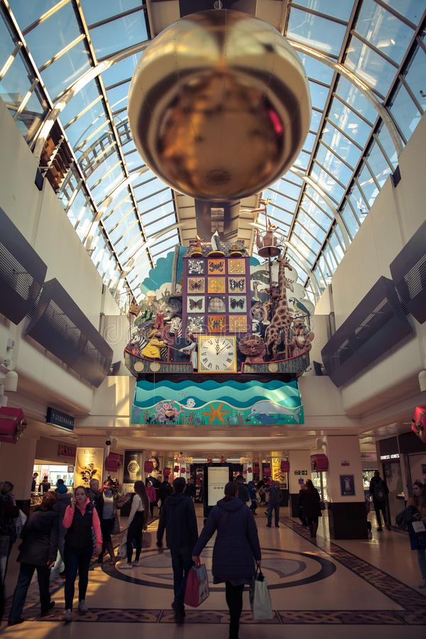 Inverness Scotland Eastgate Shopping Center Clock and lights stock images