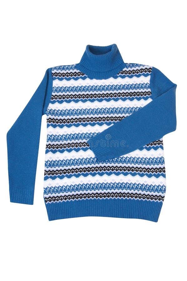 Inverno à moda, camisola azul em um branco. foto de stock royalty free