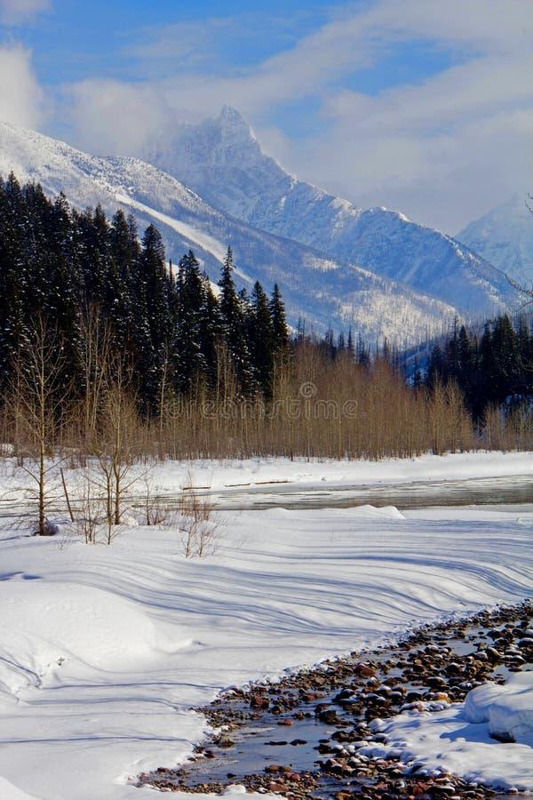 Inverno ao longo do Middlefork fotografia de stock