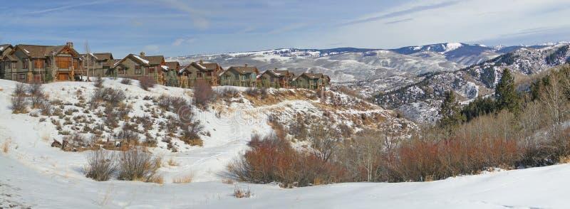 Inverno, as grandes casas negligenciam o campo nevado imagem de stock
