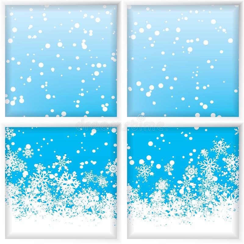 Inverno attraverso una finestra illustrazione di stock