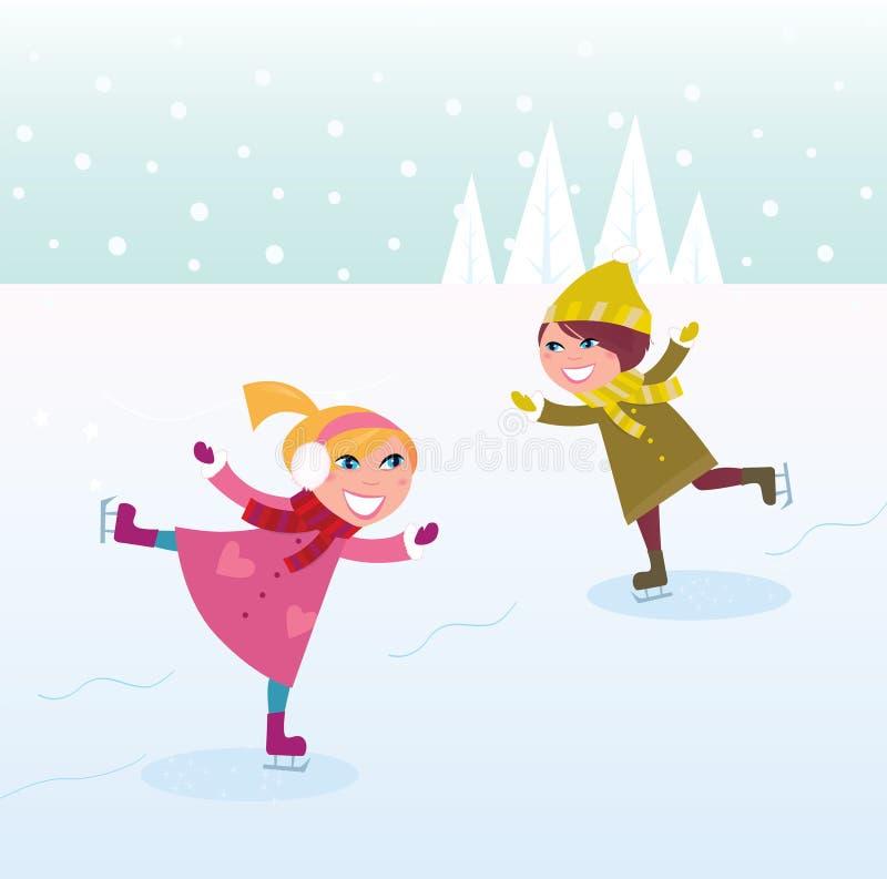 Inverno: Bambina e ragazzo pattinare di ghiaccio illustrazione vettoriale
