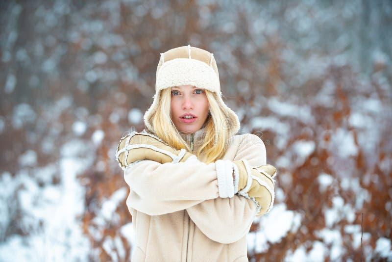 Inverno Bella ragazza in abiti invernali Vita invernale stagione fredda Indumenti per donne immagine stock libera da diritti