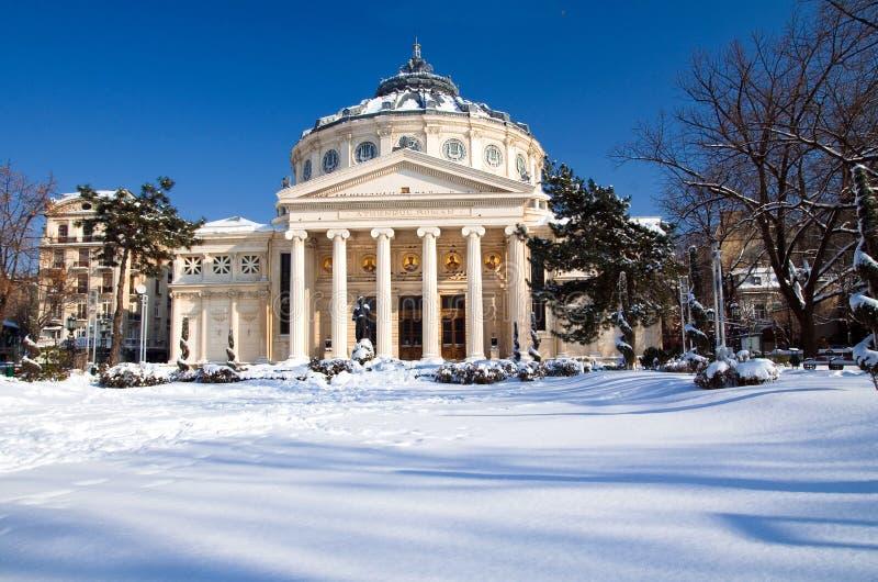 Inverno a Bucarest - sala da concerto immagini stock