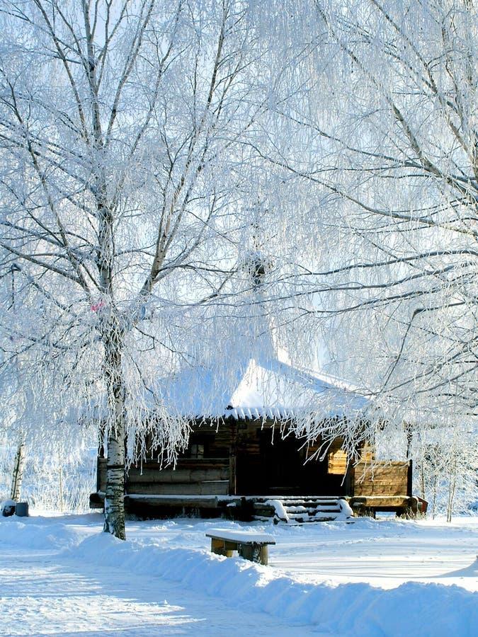 Inverno. Cappella fotografia stock libera da diritti